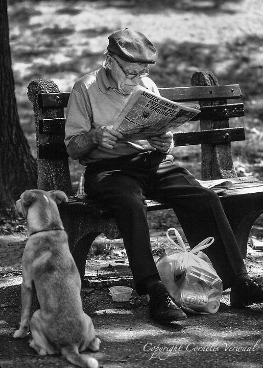 The dog seems totally uninterested as his master studies the newspaper in Central Park.