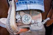 08 SEPTEMBER 2007 -- FT. DEFIANCE, AZ: A detail photo of a boot and spur at the All Women Rodeo in the Dahozy Stampede Rodeo Arena in Ft. Defiance, AZ, on the Navajo Indian Reservation. It was the first all women's rodeo on the Navajo Indian Reservation.  Photo by Jack Kurtz/ZUMA Press