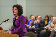Carol Alvarado comments during a meeting of the Houston ISD Board of Trustees, January 14, 2016.