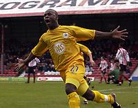 Picture: Henry Browne.<br /> Date: 26/12/2003.<br /> Brentford v Bristol City Nationwide League Division 2.<br /> Leroy Lita celebrates after scoring City's equaliser.