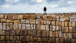 Solitary woman walking on harbour wall in St Andrews, Fife, Scotland, UK