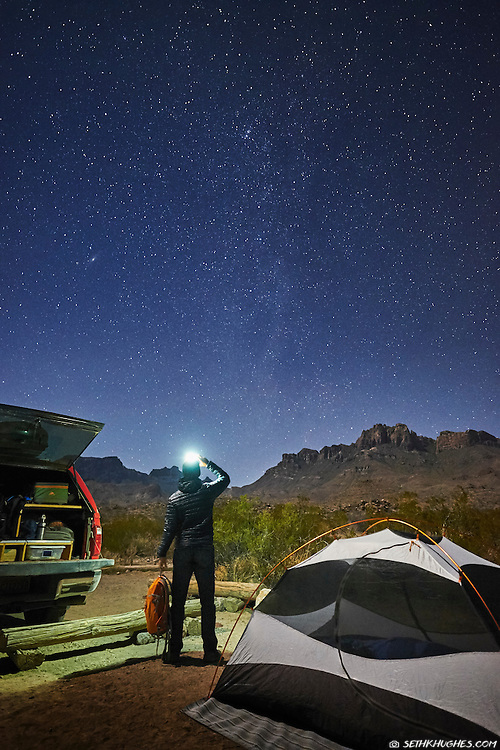 Backcounrty camping and star gazing in Big Bend National Park, Texas.