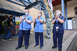 © Licensed to London News Pictures. 05/07/2020. London, UK. Medical staff at St Mary's Hospital in Paddington take part in the last Clap for Carers. A final show of appreciation for NHS staff, careers and other key workers has been arranged to celebrate the 72nd birthday of the NHS. Photo credit: Ben Cawthra/LNP