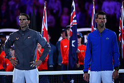 January 27, 2019 - Melbourne, AUSTRALIA - Novak Djokovic (Ser) wins his fifth Australian open against Rafael Nadal  (Credit Image: © Panoramic via ZUMA Press)