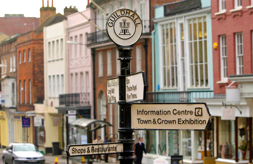 Signposts outside the Guildhall, Windsor Town Hall, Berkshire, England