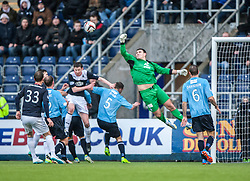 Dundee's keeper Kyle Letheren saves.<br /> Falkirk 2 v 0 Dundee, Scottish Championship game at The Falkirk Stadium.<br /> © Michael Schofield.