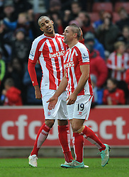 Stoke's Bojan Krkic celebrates his goal with Stoke's Steven N'Zonzi - Photo mandatory by-line: Dougie Allward/JMP - Mobile: 07966 386802 - 06/12/2014 - SPORT - Football - Stoke - Britannia Stadium - Stoke City v Arsenal - Barclays Premie League