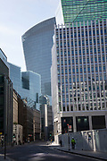 City of London financial district is virtually deserted due to the Coronavirus outbreak on 23rd March 2020 in London, England, United Kingdom. Following government advice city workers are staying at home to work leaving the streets quiet, empty and eerie. Coronavirus or Covid-19 is a new respiratory illness that has not previously been seen in humans. While much or Europe has been placed into lockdown, the UK government has announced more stringent rules as part of their long term strategy, and in particular social distancing.