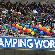 ORLANDO, FL - JUNE 18:  Fifty balloons are seen in section P08 in memory of the 49 victims of the Pulse nightclub shooting as well singer Christina Grimmie who was shot in Orlando last weekend, during an MLS soccer match between the San Jose Earthquakes and the Orlando City SC at Camping World Stadium on June 18, 2016 in Orlando, Florida. (Photo by Alex Menendez/Getty Images) *** Local Caption *** Christina Grimmie