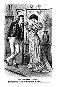 """The Six-Mark Tea-pot. Aesthetic Bridegroom. """"It is quite consummate, is it not?"""" Intense Bride. """"It is, indeed! Oh, Algernon, let us live up to it!"""""""