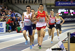 Norway's Jakob Ingebrigtsen (left) and Spain's Jesus Gomez during the Men's 1500m Final during day three of the European Indoor Athletics Championships at the Emirates Arena, Glasgow.