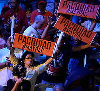 May 1.2015. Las Vegas NV. A total of 11,500 boxing fans came out to see the weigh in of Manny Pacquiao and Floyd Mayweather Jr. at the MGM grand hotel Friday. Floyd Mayweather Jr. will be fighting Manny Pacquiao this Saturday May 2nd at the MGM grand hotel in Las Vegas. Photo by Gene Blevins/LA DailyNews