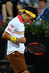 May 17, 2018 - Rome, Rome, Italy - 17th May 2018, Foro Italico, Rome, Italy; Italian Open Tennis; Kei Nishikori (JPN) in action during a match won 6-1, 6-2 against Philipp Kohlschreiber (GER)  Credit: Giampiero Sposito/Pacific Press (Credit Image: © Giampiero Sposito/Pacific Press via ZUMA Wire)