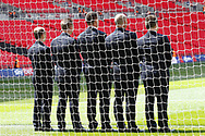 EFL executives take a shot in the goalmouth before the EFL Sky Bet League 2 Play Off Final match between Newport County and Tranmere Rovers at Wembley Stadium, London, England on 25 May 2019.