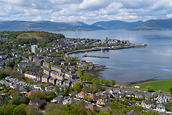 Elevated view of city of Gourock on coast of Firth of Clyde in Inverclyde, Scotland, UK