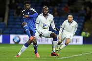 Cardiff City's Bruno Ecuele Manga (l) holds the ball from Leeds United's captain Sol Bamba. Skybet football league championship match, Cardiff city v Leeds Utd at the Cardiff city stadium in Cardiff, South Wales on Tuesday 8th March 2016.<br /> pic by Carl Robertson, Andrew Orchard sports photography.