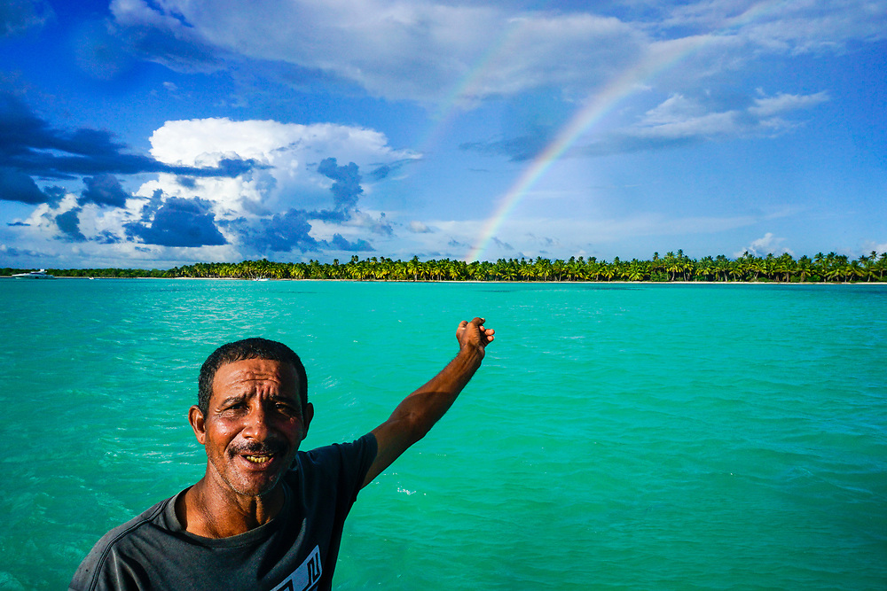 Beautiful day on the Caribbean in the Dominican Republic admiring a double rainbow.