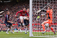 Football - Premier League - Manchester United vs. Stoke City<br /> Wayne Rooney of Manchester United scores with his head to level it at 1-1 at Old Trafford