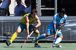 (L-R) Jeremy Edwards of Australia, Manpreet Singh of India during the Champions Trophy finale between the Australia and India on the fields of BH&BC Breda on Juli 1, 2018 in Breda, the Netherlands.