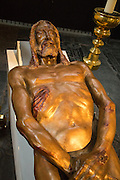 Sculpture by Luigi Mattei of Jesus Christ based on the Turin shroud, Saint John cathedral church, 's-Hertogenbosch, Den Bosch, North Brabant province, Netherlands
