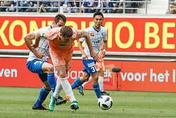 May 13, 2018 - Gent, BELGIUM - Gent's Franko Andrijasevic and Anderlecht's Uros Spajic fight for the ball during the Jupiler Pro League match of Play-Off group 1, between KAA Gent and RSC Anderlecht, in Gent, Sunday 13 May 2018, on day nine of the Play-Off 1 of the Belgian soccer championship. BELGA PHOTO KURT DESPLENTER (Credit Image: © Kurt Desplenter/Belga via ZUMA Press)
