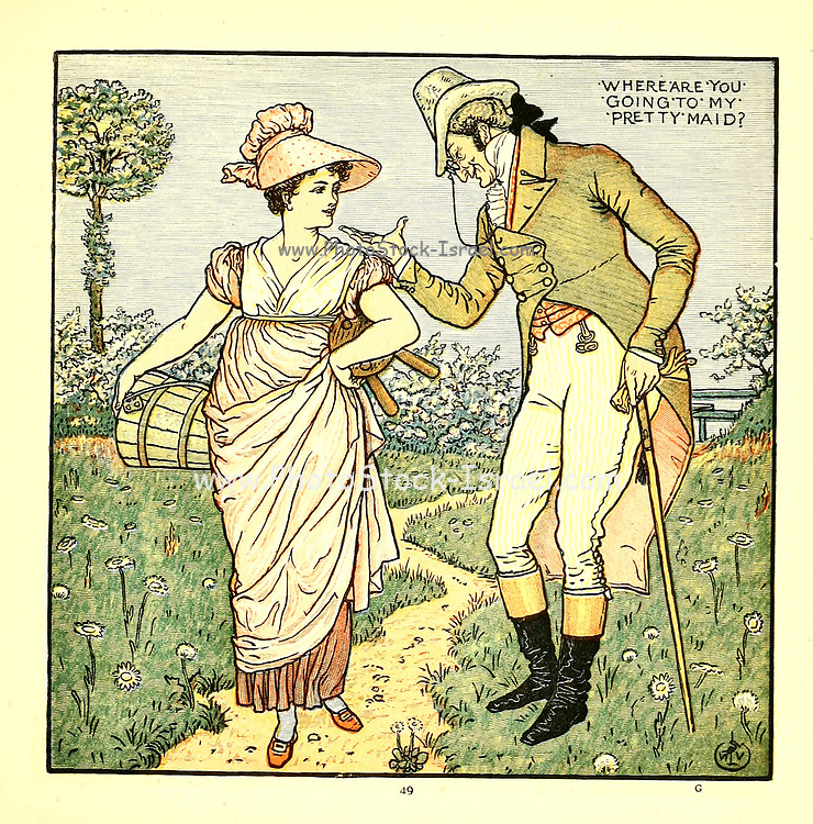 Where are you Going to my Pretty Maid From the Book '  The baby's opera : a book of old rhymes, with new dresses by Walter Crane, and Edmund Evans Publishes in London and New York by F. Warne and co. in 1900