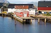 Fish processing corrugated iron building, Svolvaer, Lofoten Islands, Nordland, Norway