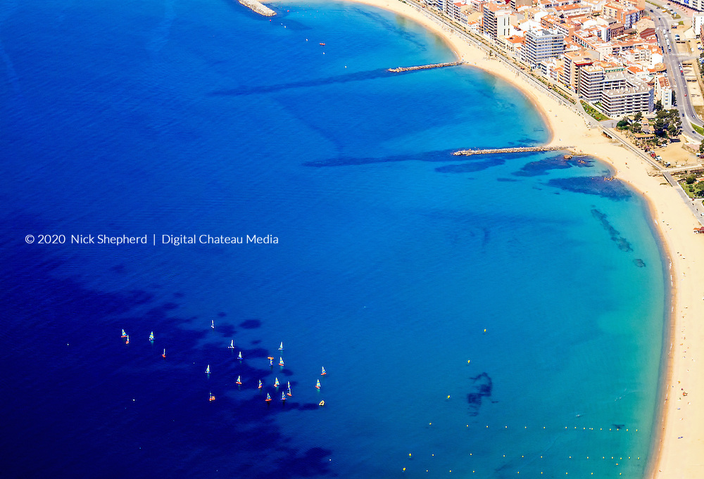 Boats in the Bay seen from a light aircraft