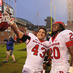 Sep 26, 2009; College Park, MD, USA; Rutgers cornerback Ramy Nubani (43) and cornerback Khaseem Greene (20) celebrate Rutgers' 34-13 victory over Maryland in NCAA college football at Byrd Stadium.