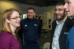 Pictured: Edinburgh College Sports coordinator Ryan Mahoney took the minister and Stew Folie (scottish Student Sport) on a tour of the facilities at Edinburgh College.<br /> <br /> Further and Higher Education Minister Shirley-Anne Somerville visited Edinburgh College's Granton campus to view the sport facilities and to announce a new GBP465,000 investment fund for the student sport sector.<br /> <br /> Ger Harley | EEm 8 February 2018