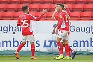 Charlton Athletic celebrate the first goal of the match scored by Charlton Athletic forward Jamie Ward (16) during the EFL Sky Bet League 1 match between Charlton Athletic and Bristol Rovers at The Valley, London, England on 24 November 2018.