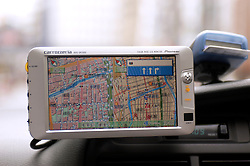 Detail of GPS navigation system screen in a Tokyo Taxi