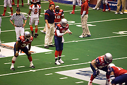 14 March 2009: Mitch Tanney prepares to take a snap in warm ups with Keith Brooks next to him. The Sioux Falls Storm were hosted by the Bloomington Extreme in the US Cellular Coliseum in downtown Bloomington Illinois.
