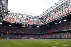 one minute silence for Heinz Schilcher who was an Austrian football player and manager, worked as a scout for AFC Ajax during the UEFA Champions League second round qualifying first leg match between Ajax Amsterdam and Sturm Graz at the Johan Cruijff Arena on July 25, 2018 in Amsterdam, The Netherlands