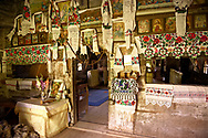 Interior of the Wooden Church of the Greco Catholic Sat Suagtag ( Biserica de lemn ) , Maramures, Northern Transylvania, Romania. .<br /> <br /> Visit our ROMANIA HISTORIC PLACXES PHOTO COLLECTIONS for more photos to download or buy as wall art prints https://funkystock.photoshelter.com/gallery-collection/Pictures-Images-of-Romania-Photos-of-Romanian-Historic-Landmark-Sites/C00001TITiQwAdS8<br /> .<br /> Visit our MEDIEVAL PHOTO COLLECTIONS for more   photos  to download or buy as prints https://funkystock.photoshelter.com/gallery-collection/Medieval-Middle-Ages-Historic-Places-Arcaeological-Sites-Pictures-Images-of/C0000B5ZA54_WD0s