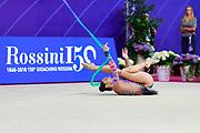 Halkina Kastiaryna during final at ribbon in World Cup Pesaro, Adriatic Arena on April 15,2018. Katsiaryna is a Belarusian rhythmic gymnastics athlete born February 25,1997 in Minks, Belarus.