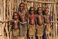 Arbore tribe children, Omo Valley, Ethiopia.