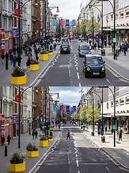 © Licensed to London News Pictures. 12/04/2021. London, UK. Paired images showing shoppers on Oxford Street on Monday 12 April 2021 (TOP) after shops reopened, and the same location the day before, Sunday 11 April 2021 (BOTTOM), when shops were closed. Pubs, restaurants and non-essential shops reopened on Monday 12 April 2021 as England begins the second phase of 'unlocking' after months of lockdown. Photo credit: Rob Pinney/LNP