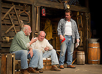 "The Boss (Dand Gardner), Candy (Ray Dudley) and Whit (Jim Rogato) during Tuesday's dress rehearsal for ""Of Mice and Men"" at the Winnipesaukee Playhouse in Meredith.  (Karen Bobotas/for the Laconia Daily Sun)"