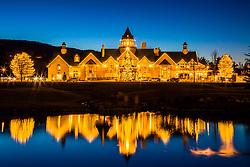 """""""Rancharrah Mansion at Christmas 1"""" - Photograph of the Rancharrah Mansion in Reno, Nevada with Christmas lights decorating the mansion."""
