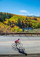 Road biking in the fall in Aspen, Colorado.