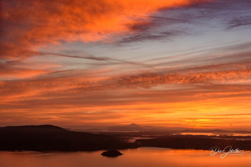 Sunrise skies from The Malahat Viewpoint, Malahat, British Columbia, Canada