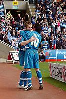 Photo: Kevin Poolman.<br />Reading v Stoke City. Coca Cola Championship. 17/04/2006. Reading's Kevin Doyle and Stephen Hunt celebrate Kevin's penalty.