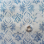 Traditional hand rollered wall in a peasant farmer's home, Botiza, Maramures, Romania. These patterns are now often replaced by washable emulsion paint.