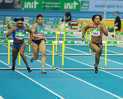 KARLSRUHE, Feb. 4, 2018  Sharika Nelvis(1st R) of the United States competes during Women's 60m Hurdles final of the 2018 IAAF World Indoor Tour in Karlsruhe, Germany, on Feb. 3, 2018. Sharika Nelvis claimed the title with 7.80 seconds. (Credit Image: © Luo Huanhuan/Xinhua via ZUMA Wire)