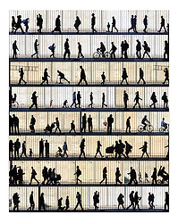 Wall art people silhouette photo collage in the streets of Barcelona, original home decor and interior design ideas