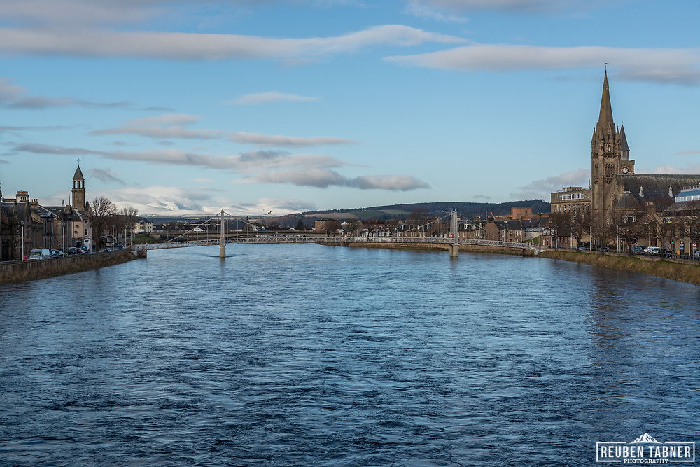 Looking down the River Ness, towards Ben Wyvis, from the Ness Bridge in the centre of Inverness.
