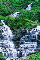 Waterfall, Logan Pass, Glacier National Park, Montana USA