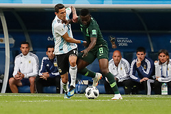 June 26, 2018 - Saint Petersburg, Russia - Oghenekaro Etebo (R) of Nigeria national team and Angel Di Maria of Argentina national team vie for the ball during the 2018 FIFA World Cup Russia group D match between Nigeria and Argentina on June 26, 2018 at Saint Petersburg Stadium in Saint Petersburg, Russia. (Credit Image: © Mike Kireev/NurPhoto via ZUMA Press)