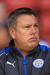 """Leicester City manager Craig Shakespeare during the Carabao Cup, Second Round match at Bramall Lane, Sheffield. PRESS ASSOCIATION Photo. Picture date: Tuesday August 22, 2017. See PA story SOCCER Sheff Utd. Photo credit should read: Tim Goode/PA Wire. RESTRICTIONS: EDITORIAL USE ONLY No use with unauthorised audio, video, data, fixture lists, club/league logos or """"live"""" services. Online in-match use limited to 75 images, no video emulation. No use in betting, games or single club/league/player publications."""